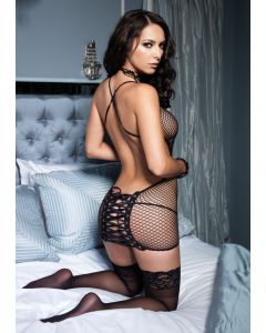 Industrial Net Mini Dress With Cheeky Corset Lace Up Back