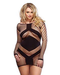 Long Sleeved Minidress Black Plus Size