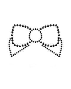 Bijoux de seins autocollant Mimi noeud noir