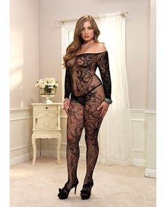 Spiral Lace Bodystocking black Plus Size