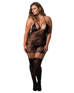 Strappy suspender bodystocking Black Plus Size